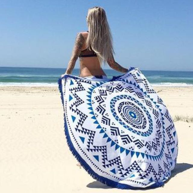 Velour cotton round beach towels thick good quality blue black mandala