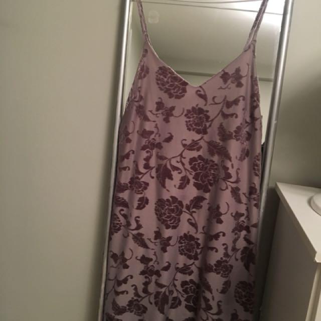 Velvet detail slip dress