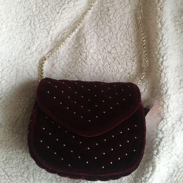 Velvet studded shoulder bag