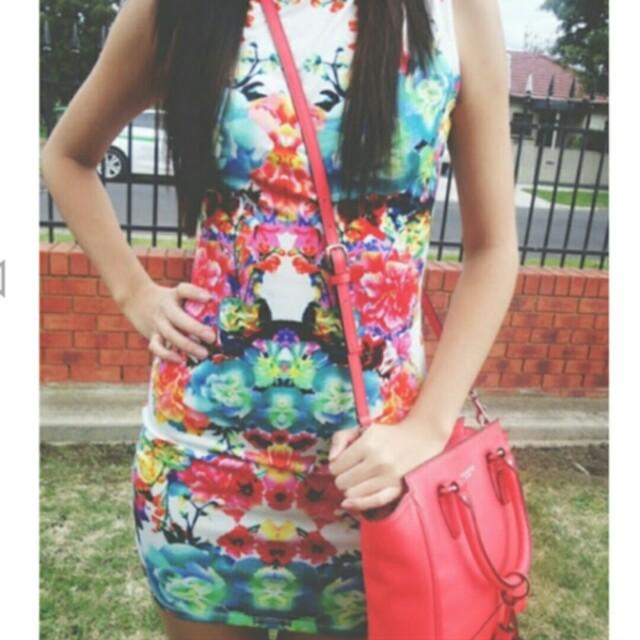 Vibrant Floral Bodycon Dress