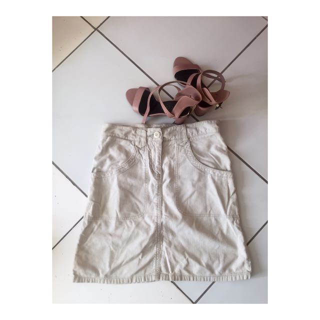 White H&M Cargo Skirt
