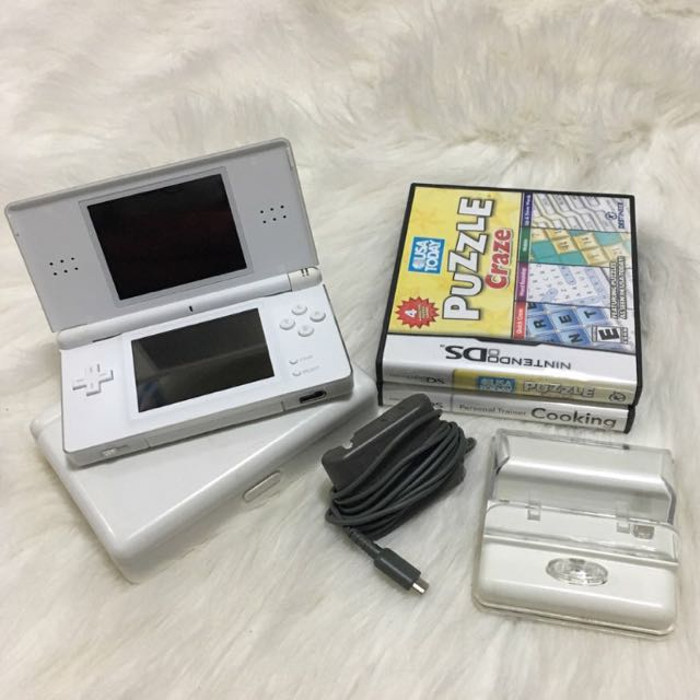 White Nintendo DS lite, comes with everything in photo + charging cord