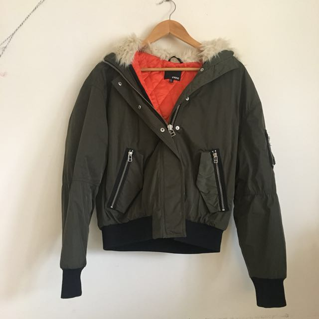 Wilfred Free Army Green Bomber Winter Jacket