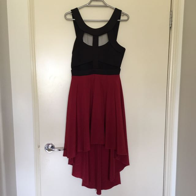 Wine red high-low dress