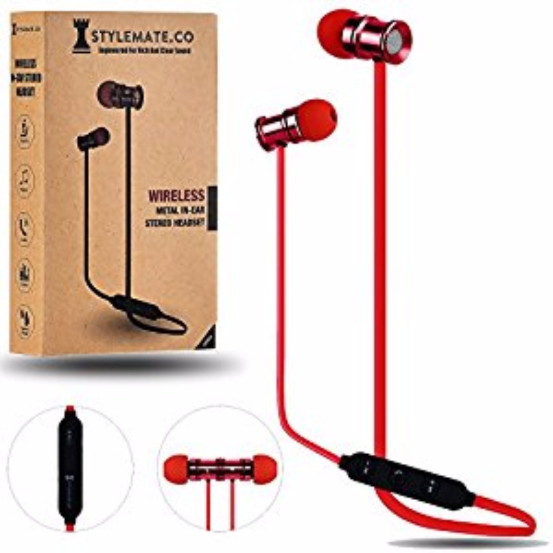 Wireless Earphones Magnetic Bluetooth Headphones Earbuds By Razer Hammerhead Bt Premium Gaming Earphone Headset Headphone Stylemateco Sports Running In Ear Deep Bass Noise Cancelling Red Electronics