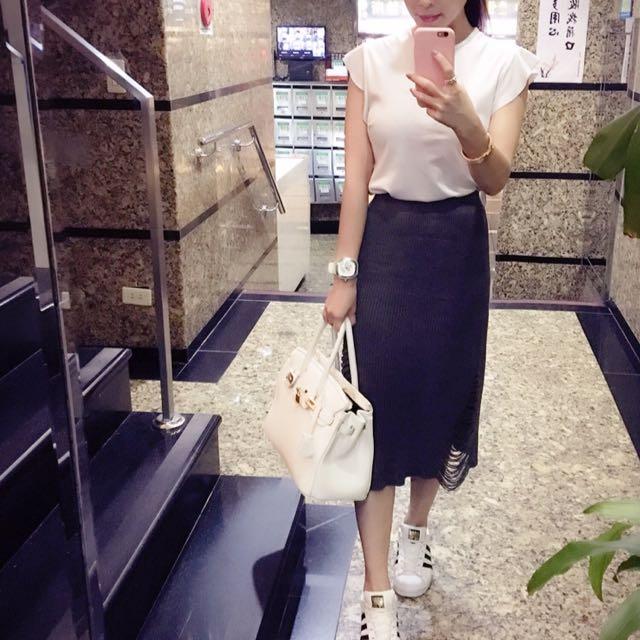 針織高質感長裙(灰x1、深藍x1)