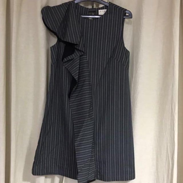 (X) S.M.L Stripe Accent Grey Dress