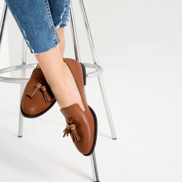 b09cbc04e0d Zara Brown Leather Loafers With Tassels