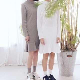 魚尾棉質小洋裝(白)
