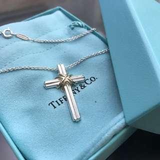 🚚 Tiffany 純銀/18k金 造型十字架項鍊