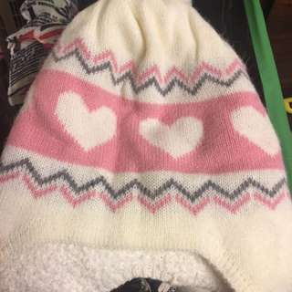 🚚 粉色愛心針織帽