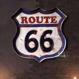 L121【ABS安伯家】 美式紫色66公路Loft工業風復古家居燈飾壁燈 店面酒吧傢俱家具家飾公路車牌壁飾