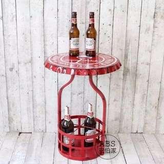 🚚 【ABS安伯家】LOFT 工業風紅色做舊瓶蓋造型茶几 邊几 餐廳桌 酒吧桌 擺飾桌 床頭邊桌