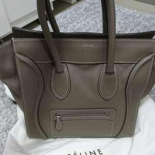 Celine mini luggage in taupe color