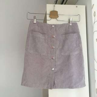 韓 芋頭色排扣窄裙