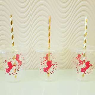 Unicorn plastic cups with lid
