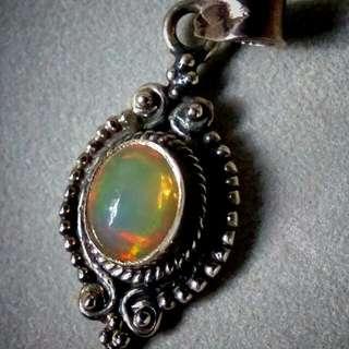Top grade Ethiopian Opal silver pendant