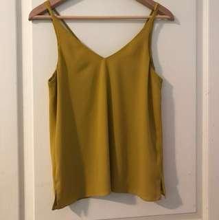 Topshop mustard singlet size 8