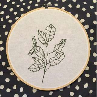 Plant Line Drawing Embroidery