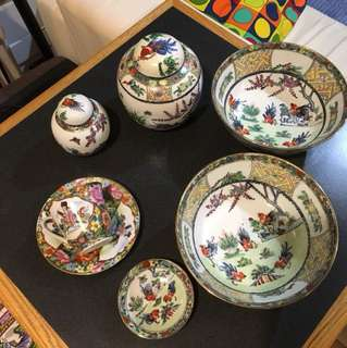Collection of made in China decorative items.  Two bowls, 1 tea cup, 2 jars and 1 small plate