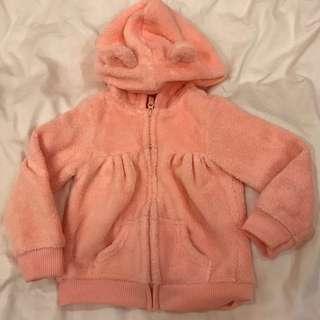 🚚 Carter's 粉色小熊帽毛外套