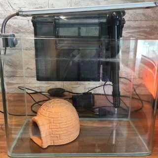 魚缸+掛式過濾器+夾式LED燈