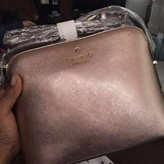Kate spade mettalic rosegold high quality FAKE purse brand new