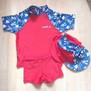 Red & Blue 2-piece Swimwear with Hat