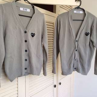 CDG Grey Knit Cardigans