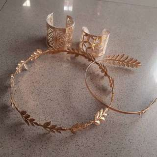 laurel leaf headband, circlet and bangles