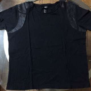 M H&M Leather patched Shirt