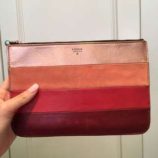 Fossil multi peach clutch