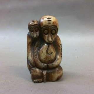 古玉雙猴手把件/44g