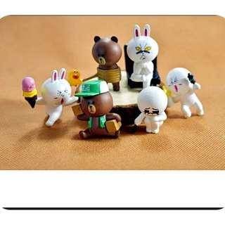 🚚 LINE貼圖 熊大/兔兔 公仔 模型 6款/組 好玩組合 收藏 擺設