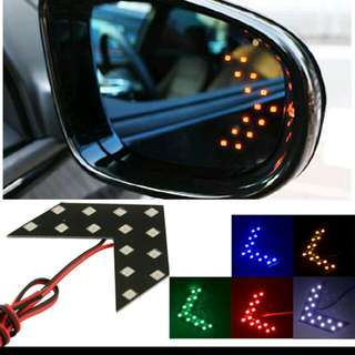 Car side mirror ghost signal lights
