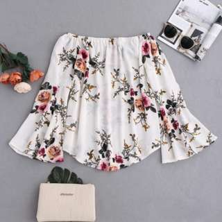 Zaful floral flare sleeved blouse