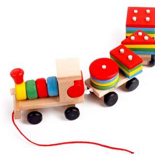Wooden SHAPES Sorter Pull Along Train