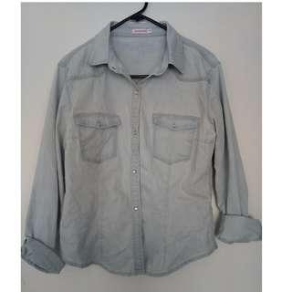 Light Blue Wash Womens Denim Shirt Chambray