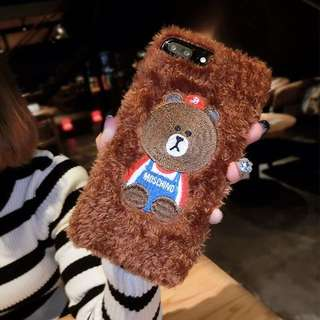 (包郵)Line Friends iPhone Case 電話殼 電話套 手機殼 手機套 毛毛 毛絨絨