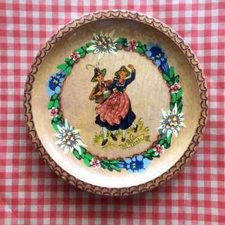 Vintage Austria Tirol hand painted wooden display folk dancing plate