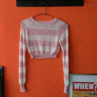 🚚 🎈粉紅條紋短版上衣