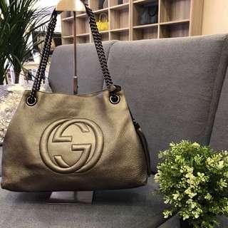 Gucci Soho Shoulder Bag Chain Strap Leather