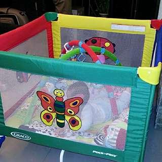 新淨Graco 網床連玩具