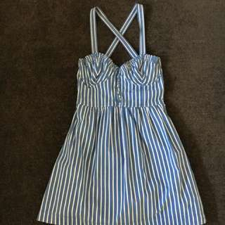 Abercrombie & Fitch Blue and White Stripe Crossback Dress