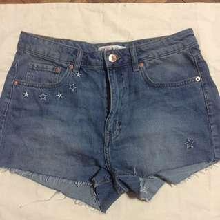 H&M coachella collection denim shorts