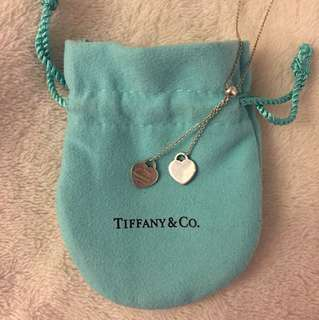 Tiffany and co double heart pendant necklace