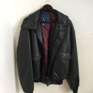 Genuine Italian leather bomber jacket
