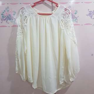 Plus Size Off White Lace Top