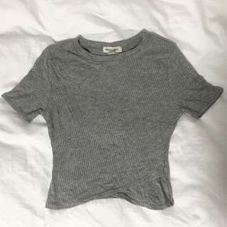 URBAN OUTFITTERS grey cropped t-shirt with layer detailing