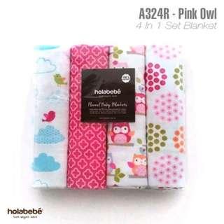 Pink Owl Blanket 4 in 1 Pack